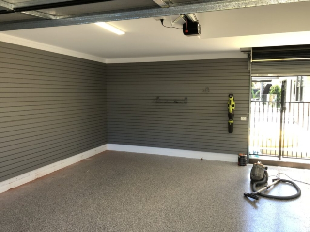 Weathered Grey Garage Slatwall Corner Installation