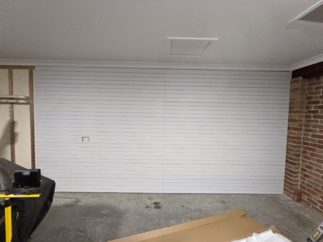 Brite White Garage Storage Slatwalls Running Vertically